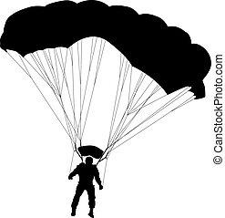 skydiver, silhuetas, parachuting, v
