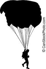 skydiver, silhuetas, parachuting, vetorial, illustration.