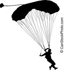 skydiver, silhuetas, parachuting, vetorial, ilustração
