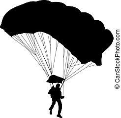 skydiver, silhuetter, parachuting, vektor, illustration