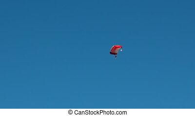 Skydiver soars in the sky