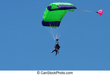 Skydiver riding the wind