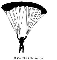 skydiver, vecteur, silhouettes, illustration, parachutage