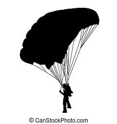 skydiver, vector, silhouettes, illustratie, parachuting