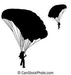 Skydiver, Vektor, Silhuetter,  Illustration,  Parachuting