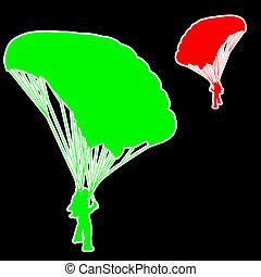 Skydiver, vetorial, silhuetas, Ilustração,  Parachuting