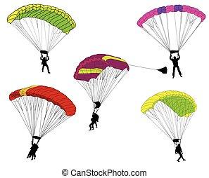 skydivers, illustration