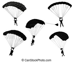 skydivers, silhouettes