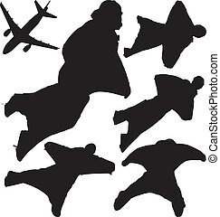Skydivers vector silhouettes - Wingsuit skydivers and plane...