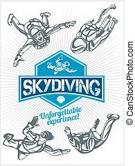 skydiving., ベクトル, セット, -, 紋章, そして, skydivers.