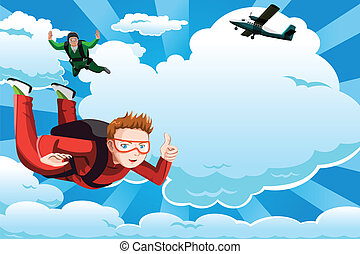 A vector illustration of people skydiving with copyspace