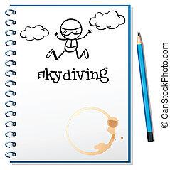 skydiving, beeld, aantekenboekje, persoon