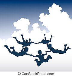 Editable vector illustration of a ring of skydiving children