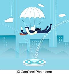 skydiving, conceito, investidor, homem negócio