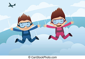 A vector illustration of a skydiving couple