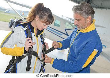 skydiving, första, erfarenhet, tid