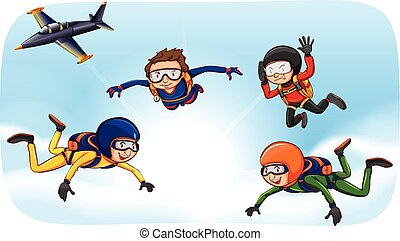 People doing skydiving in the sky