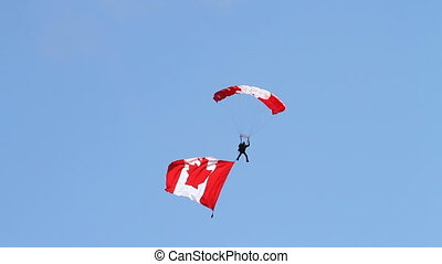 Skydiving - RCAF team parachutist with Canadian flag