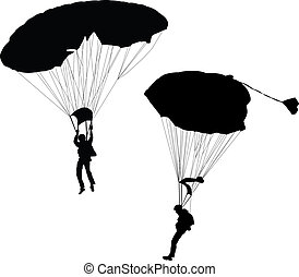 Silhouette of skydiver before landing. Vector