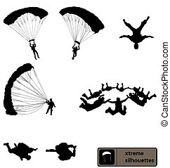 skydiving silhouettes collection - set of skydiving...