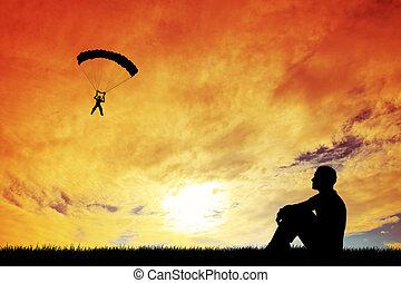 Sky Diver with parachute