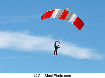 Skydiving - skydiver floating on the wind