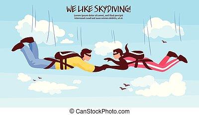 Skydiving Team Illustration