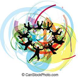 skydiving., vector, ilustración