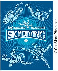 Skydiving and extreme spor. Vector set - emblem and skydivers.