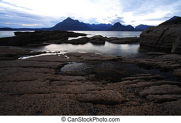 skye island in scotland with the view on the cuillins