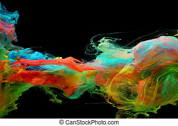 skyer, farverig, vand, klar, blæk, blandede