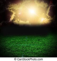 skyer, hen, mørke, felt, storm, græs