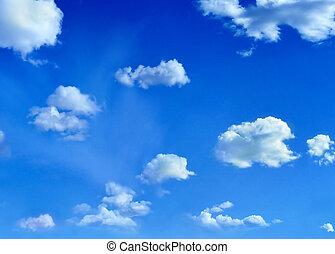 skyer, på, himmel