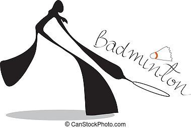 skygge, badminton, cartoon, mand
