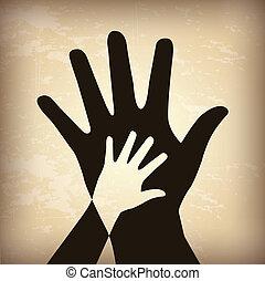 skygge, hånd