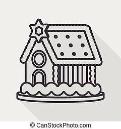 skygge, ikon hus, ingefærkage, eps10, lejlighed, længe