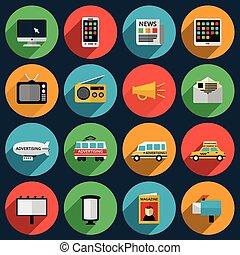 skygger, information, iconerne, medier, længe, kanaler