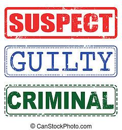 skyldig, stämpel, misstänkt, brottsling