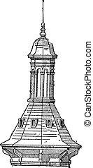 Skylight of  Church St-Eustache in Paris, vintage engraving.