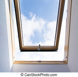 Skylight window - Beautiful blue sky view through roof ...
