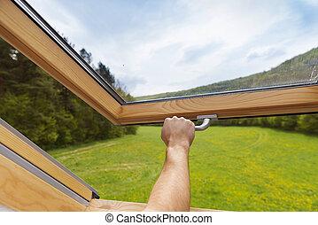 Skylight window - Beautiful nature view through roof...