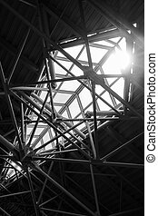 Skylight window - industrial construct. Black and white ...