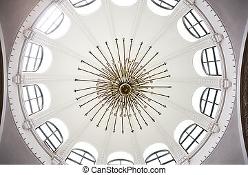 skylight windows - Large white circular window of a museum