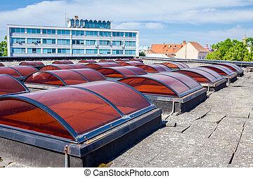 Skylights, big colored roof windows