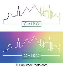 skyline., カイロ, カラフルである, style., 線である