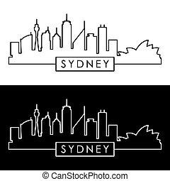 skyline., 線である, シドニー, style.