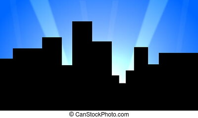 A stylized and cartoonish city backdrop with search lights moving across the sky.