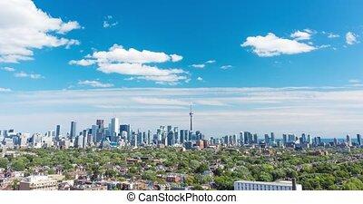 skyline., aérien, toronto, hyperlapse, vue