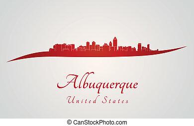 skyline, albuquerque, vermelho