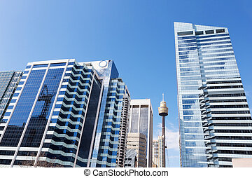 skyline and office buildings in modern city